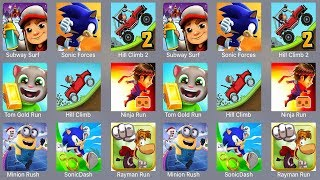Subway Surfer,Sonic Forces,Hill Climb 2,Mario Run,Tom Gold Run,Hill Climb,Ninja Run