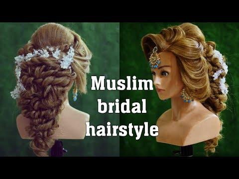 muslim bridal hairstye | how to make perfect puff hairstyle with maang tikka setting | eid hairstyle thumbnail