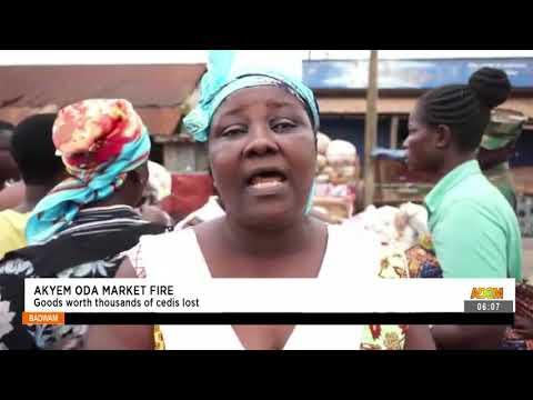 Akyem Oda Market Fire: Goods worth thousands of cedis lost- Badwam News on Adom TV (15-9-21)