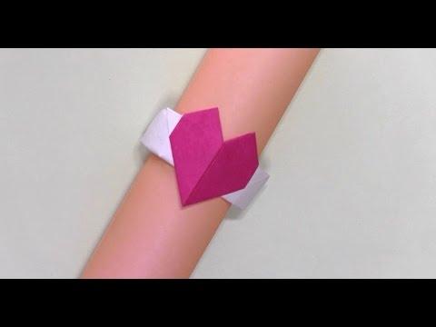 簡単 折り紙 : ハートの指輪 折り紙 : youtube.com