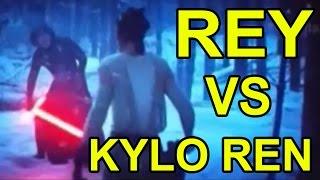 Star Wars: The Force Awakens - Rey and Finn VS Kylo Ren [ENDING FIGHT SCENE] (Lightsaber Battel)