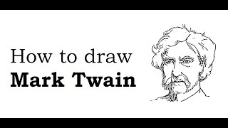 How to draw Mark Twain face sketch drawing step by step