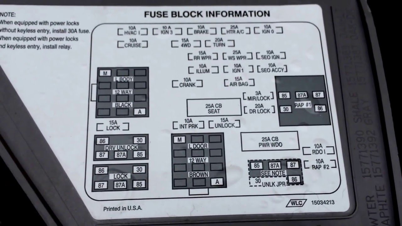 Chevy Suburban Fuse Box Wiring Diagram Schematics 2006 Aveo 1500 2000 Location Youtube Monte Carlo