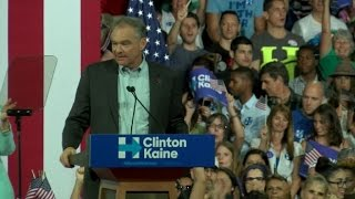Kaine wows rally on first day as Clinton running mate