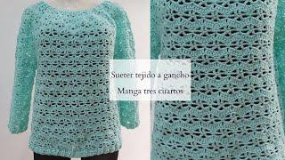 Suéter tejido a gancho I Talla mediana I Manga tres cuartos