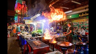 [4K] 2019 Night walking street at Chinatown Bangkok or Yaowarat Street Food