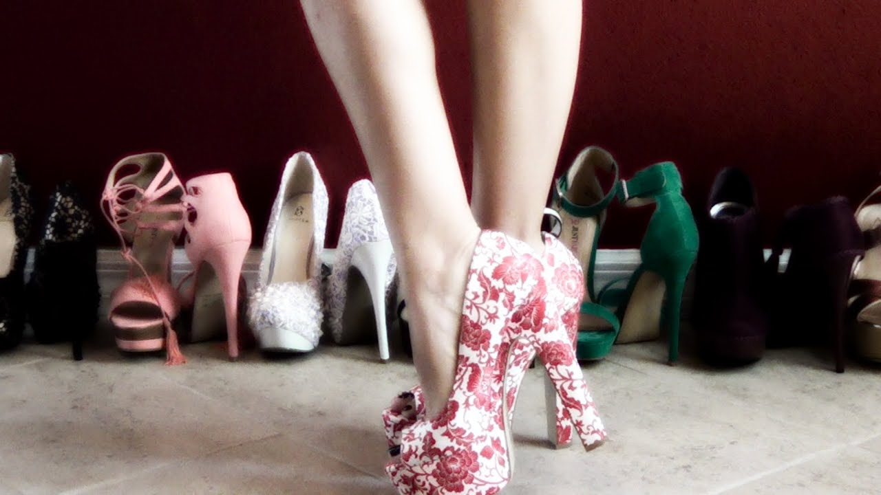 HD Review of Calista from ShoeDazzle Open Toe Red Floral High Heel