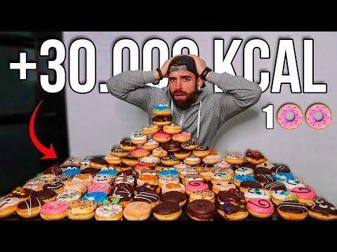 +30.000 KCAL EN UNA COMIDA | 100 DONUTS *reto imposible*