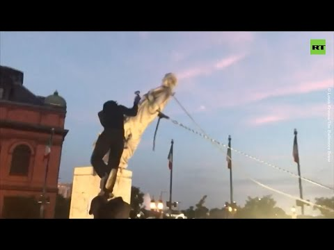 Breaking new ground | Baltimore protesters topple Columbus statue