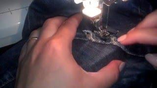 Потертости и дыры джинсов. Как устранить -способ штуковки.(В этом видео вы увидете как быстро заштопать джинсовые дыры или потертости с помощью швейной машинки., 2015-07-09T16:50:07.000Z)