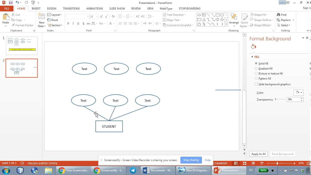 how to draw er diagrams using microsoft powerpoint part 1 [ 1280 x 720 Pixel ]