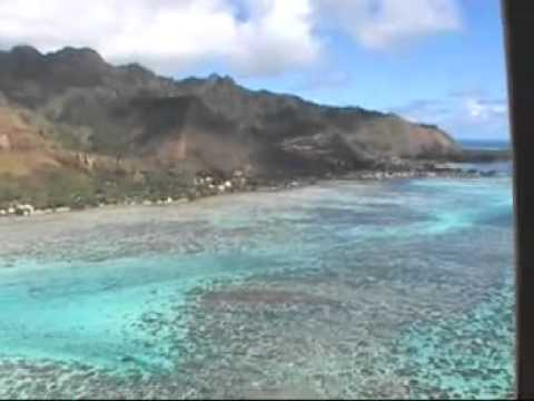 Helicopter flight around Moorea island in French Polynesia