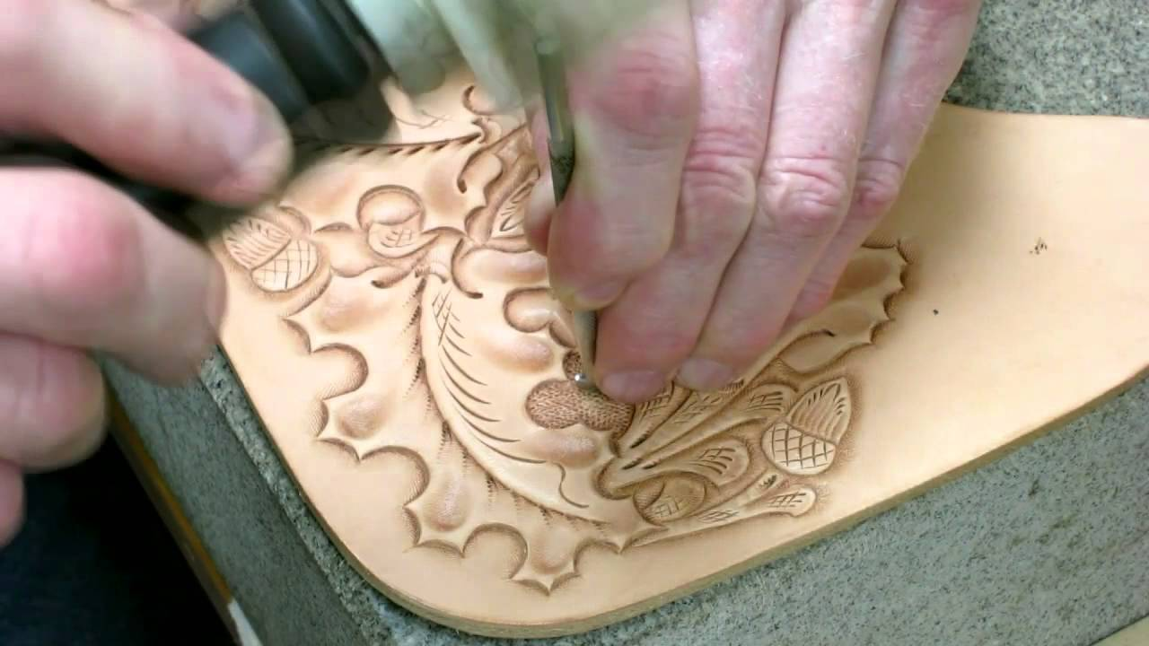western culture leather tooling oak leaves and acorns