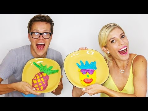 DIY PANCAKE ART CHALLENGE! WE DREW EACH OTHER! (Day 230)