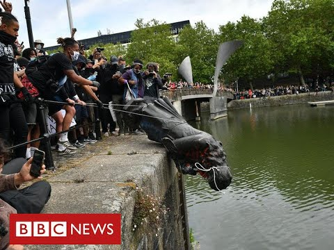 Slave trader's statue toppled in Bristol as thousands join anti-racism protests - BBC News