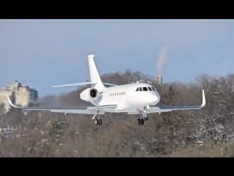 Falcon 2000EX - Landing & Takeoff in snowy Berne HD