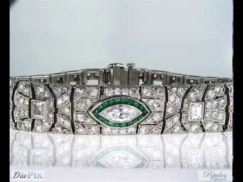 Rare Vintage Platinum Art Deco Diamond and Emerald Antique Bracelet 8.50 CTW