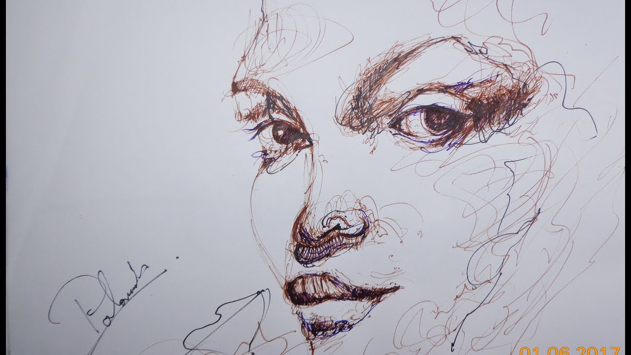 Line Drawing Face : Face drawing lesson line with a pen on paper youtube