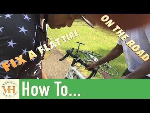 how to fix a bicycle flat on the road | Fix a  puncture on a road bike