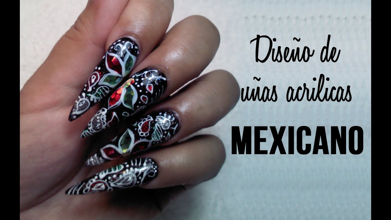 Diseño Mexicano en uña Stiletto - YouTube