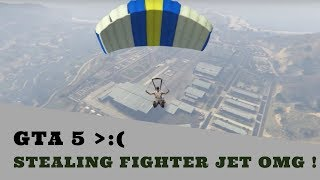 GTA 5: Stealing Fighter Jet from Military Base Very Easily (PC) 2015