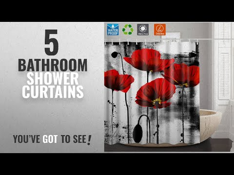 Top 10 Bathroom Shower Curtains [2018]: Shower Curtain Liner Bathroom Curtain,Red Flower Unique