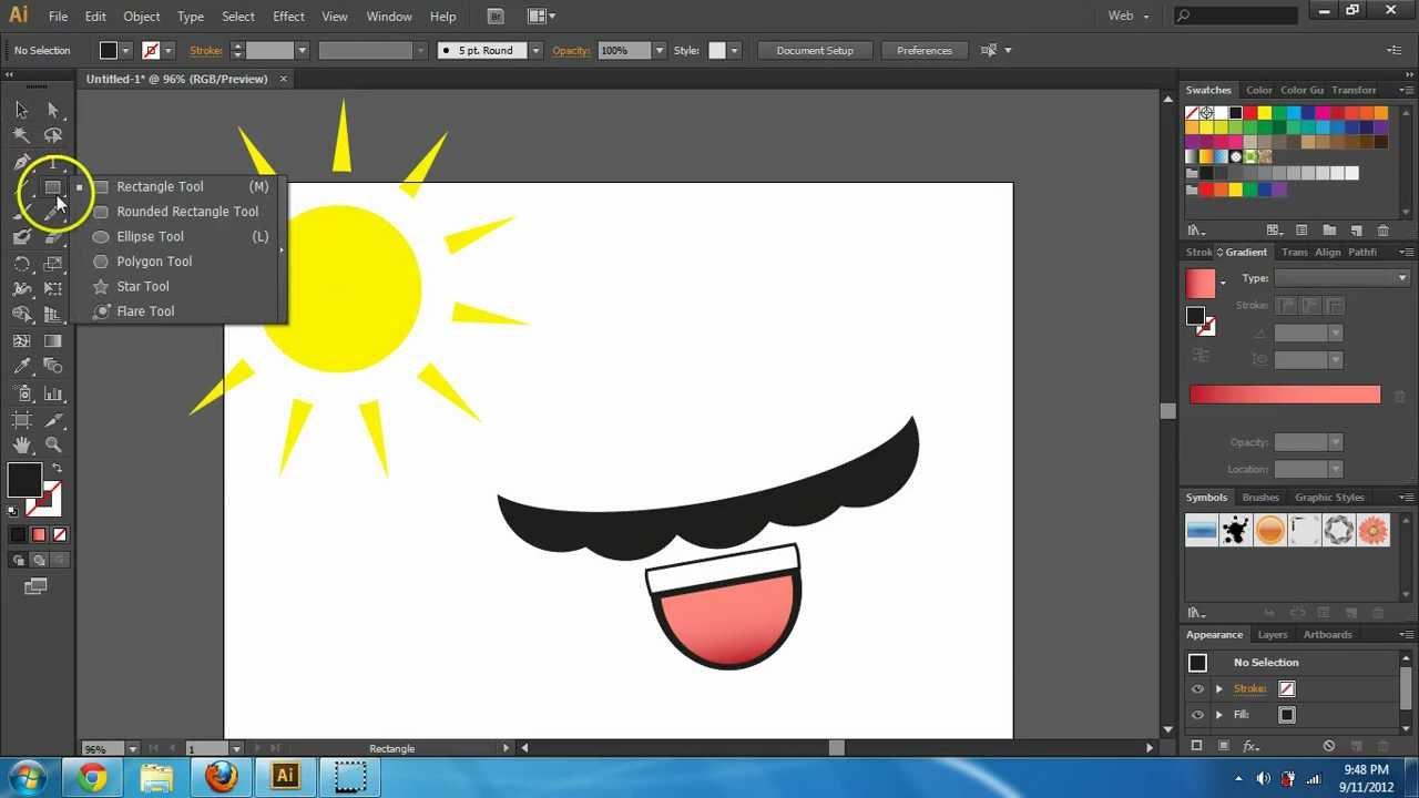 Adobe Illustrator CS6 Basics - Shapes and Pathfinder Tool Tutorial ...