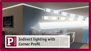 Indirect lighting: Plaster mouldings and cove lighting with LED strips and Corner Profile