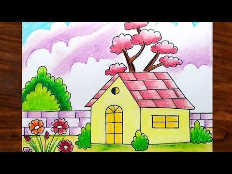 How to Draw Easy and Simple Village Scenery for Beginners | Step by Step Scenery Drawing