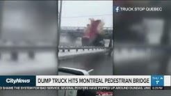 Raised semi-trailer crashes into pedestrian bridge