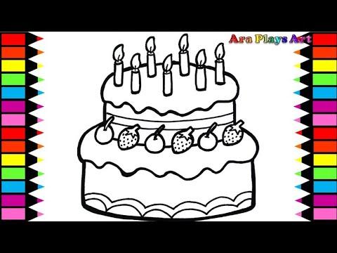 Menggambar Dan Mewarnai Kue Ulang Tahun Warna Warni Untuk Anak