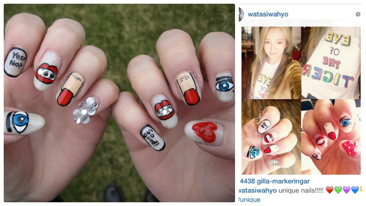 Kpop Hyoyeon (Girls\u0027 Generation SNSD 소녀시대 김효연) instagram recreation nail  art , YouTube