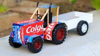 How to Make A Toy Tractor From Colgate at Home | DIY Toy | Electric Colgate Tractor