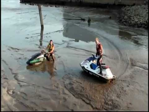 Jet ski fun in the mud - stuck in the mud after Philadelphia show!