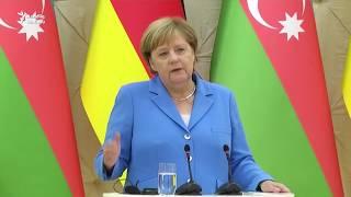 """İ.Əliyevə  sual: """"Merkellə, həbsdəki jurnalistləri müzakirə etdinizmi?"""""""