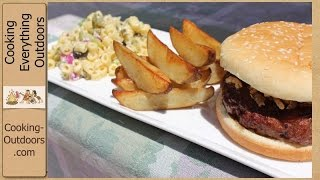 Cedar Plank Grilled Bbq Hamburgers, Spicy Steak Fries And A Macaroni Salad Recipe