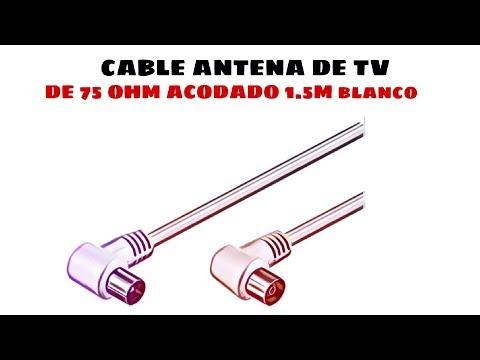 Video de Cable antena de TV de 75 Ohm acodado 1.5 M Blanco