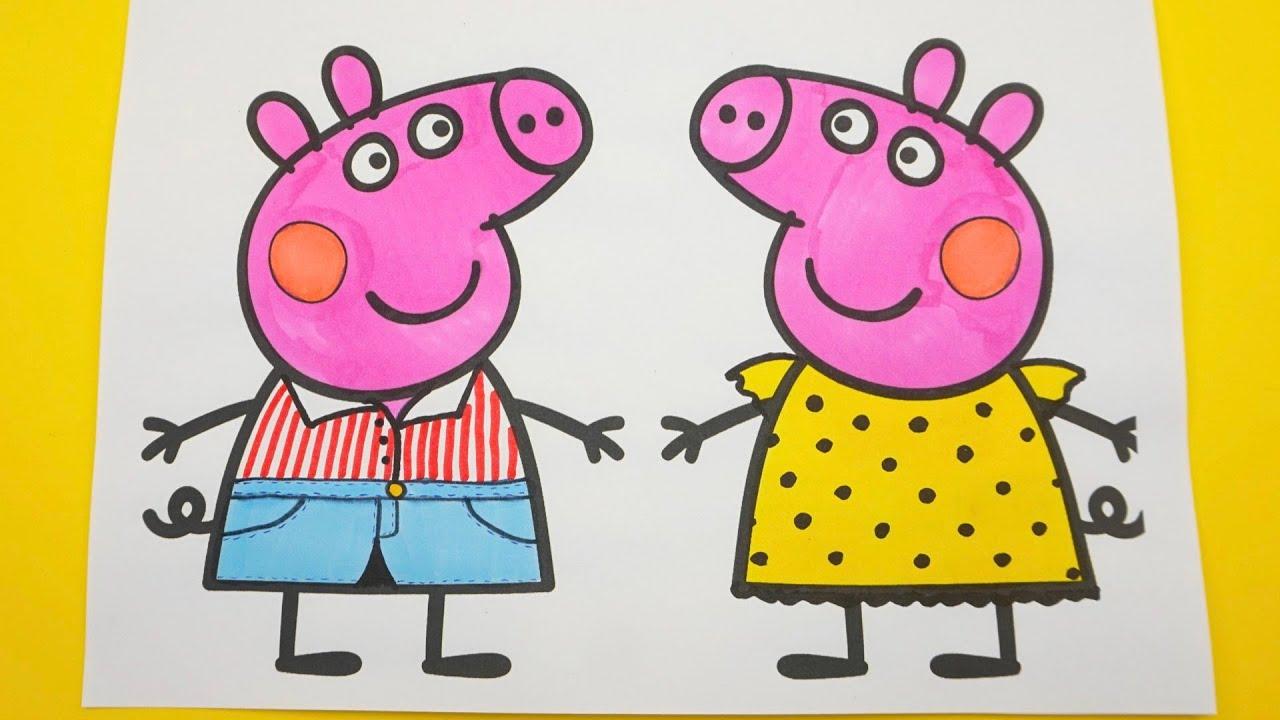 Свинка Пеппа поделки, раскраски, аппликации. Учимся рисовать, раскрашивать.