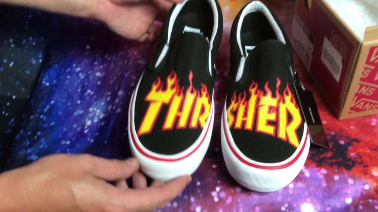 b91bdcd6e007 Vans x Thrasher Slip On Pro Unboxing - YouTube