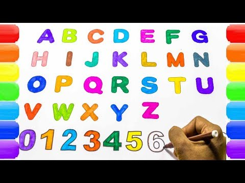 Alphabets & Numbers Coloring and Drawing, Learn Alphabet ABC and Numbers 123 Colors