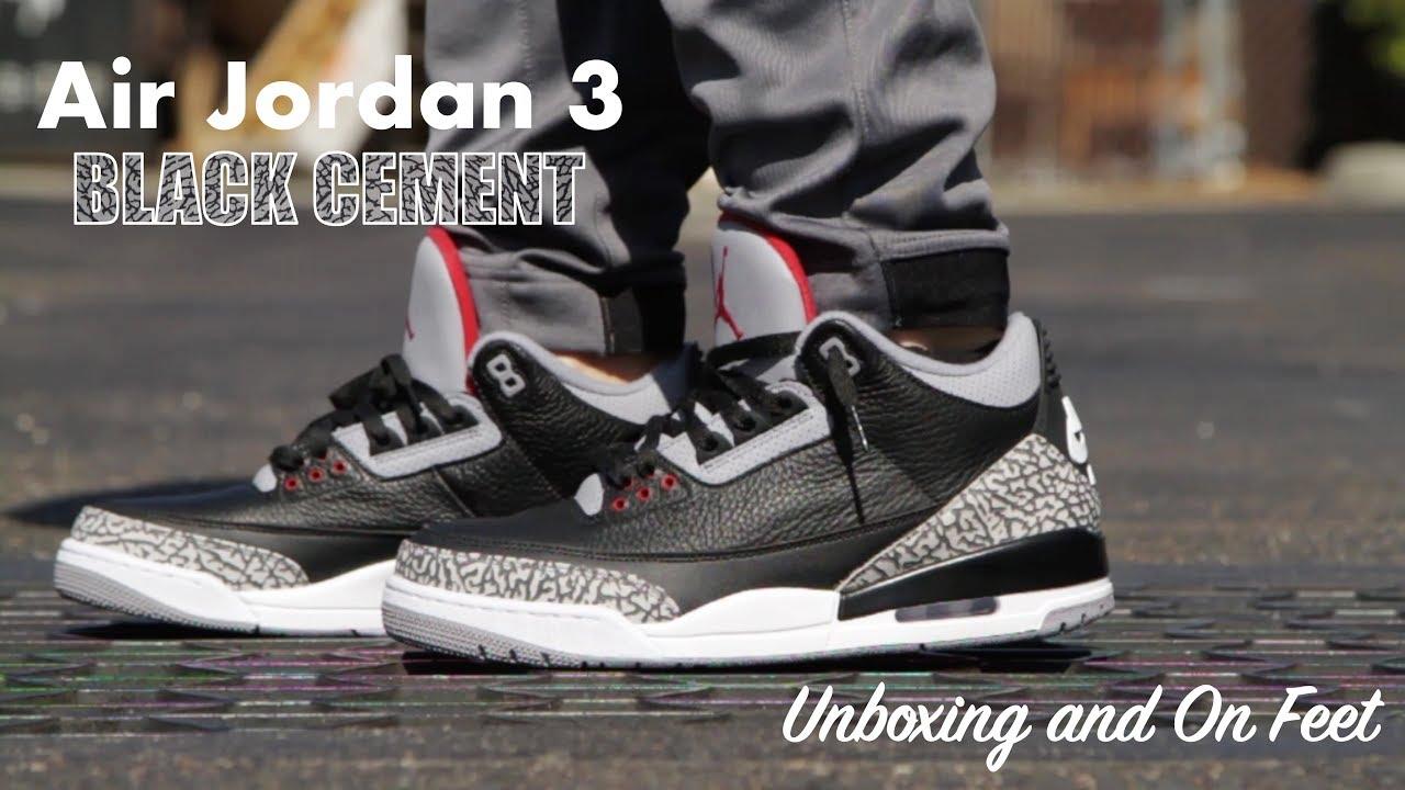 922d555a254492 ... Air Jordan 3 Black Cement - Unboxing   On Feet - YouTube Jordan 3 Black  Cement ...