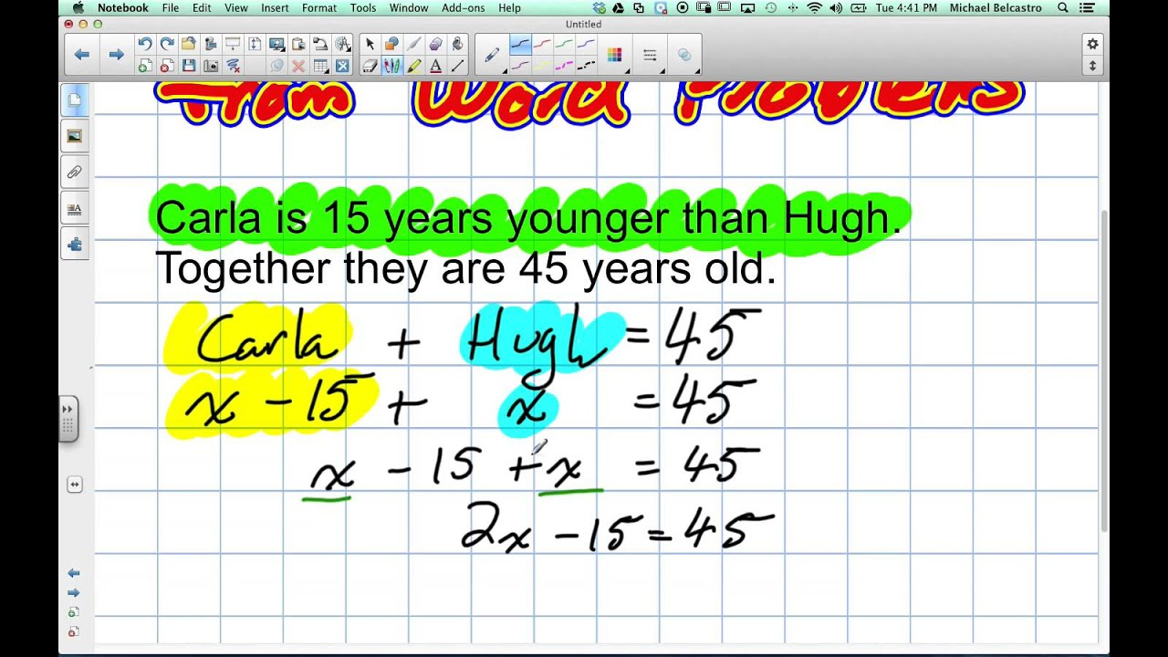 Creating Equations Out Of Word Problems Grade 9 Academic
