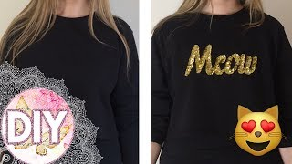 How To Make A Sequin Design On A Shirt | Meow sequin shirt