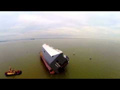 Hoegh Osaka - Aerial Footage of Beached Cargo Vessel Currently Aground On The Bramble Sand Bank