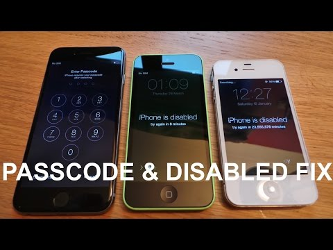 How to remove/reset any disabled or Password locked iPhones 6S & 6/Plus/SE/5s/5c/5/4s/4/iPad or iPod: UPDATED VIDEO - https://www.youtube.com/watch?v=PNqY_9O3TtQ  This video will show you how to remove any disabled screen or passcode lock on any iPhone, iPad or iPod model.  The iPad specific video can be seen here - https://www.youtube.com/watch?v=oDOY6bwhqU8&feature=youtu.be  Video on how check for iCloud on your device here - https://www.youtube.com/watch?v=-LLAx7ccoCE  If your home or power button doesn't work, watch this video on how to do it without - https://www.youtube.com/watch?v=-v5gE8cMZeg  This will erase the device and its passcode.  1. Disconnect all cables from your device.  2. Hold down the Sleep/Wake button, then