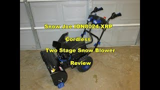 4-Speed Snow Joe ION8024-XRP-RM 80-Volt iONMAX Cordless Two Stage Snow Blower Kit 24-Inch Renewed Headlights W// 2 x 6.0-Ah Batteries and Charger