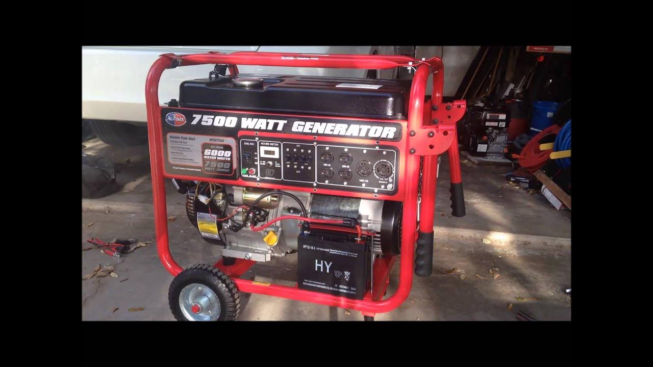 all power 7500 watt generator youtube rh youtube com Residential Standby Generator Wiring Schematic Manual Generator Circuit Diagram