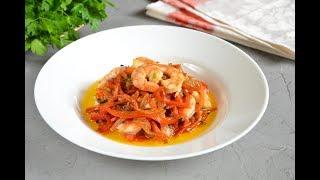 Вкуснейшие жареные креветки на сковороде с овощами