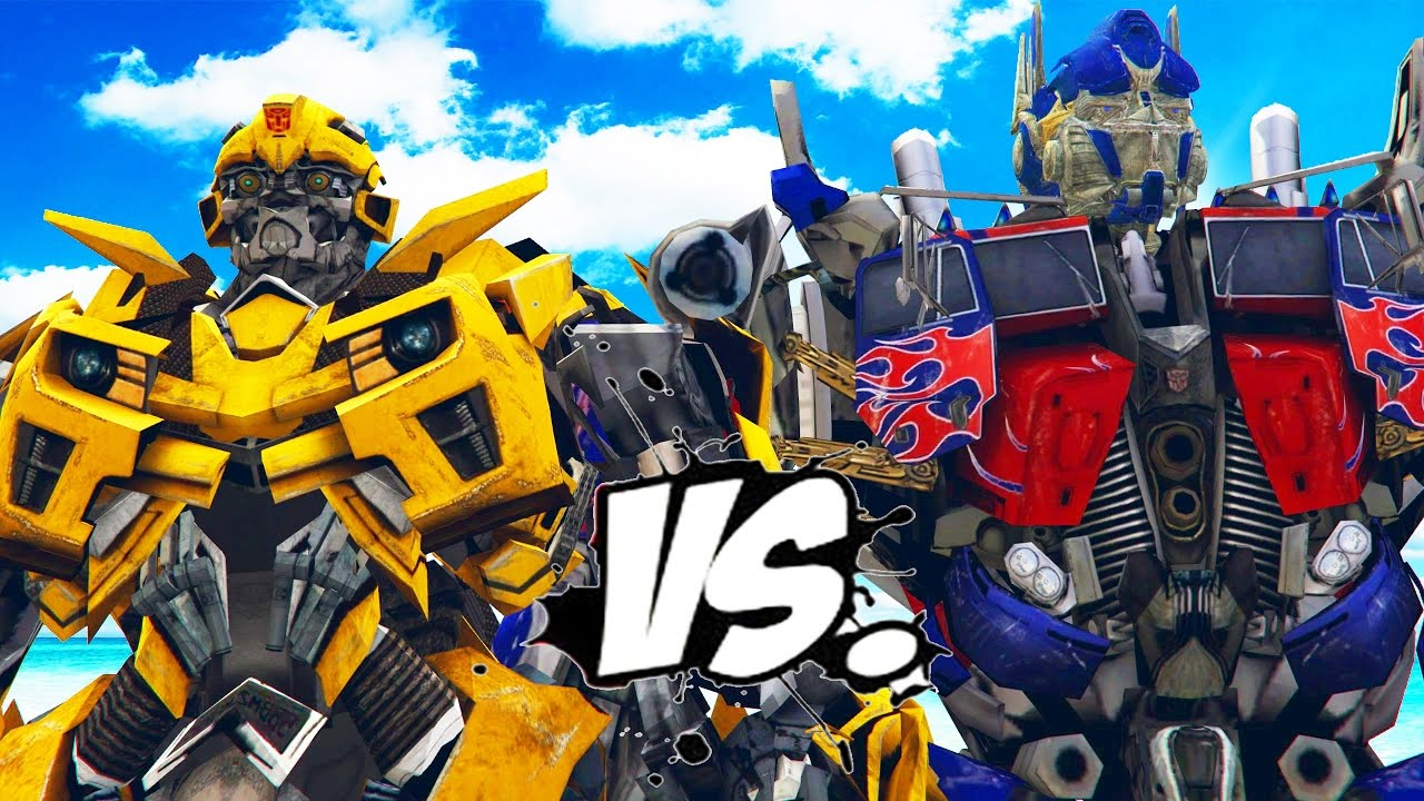 bumblebee vs optimus prime - transformers battle - youtube