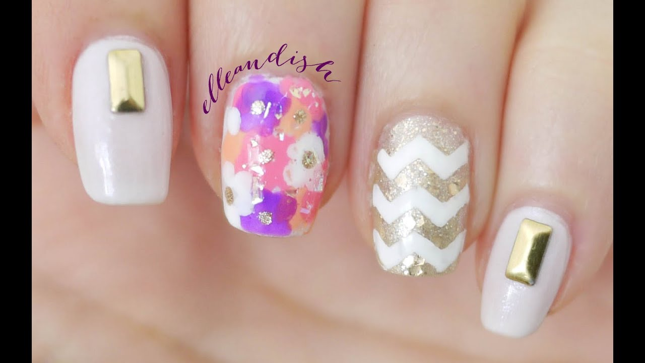 Floral Chevron Nails - YouTube